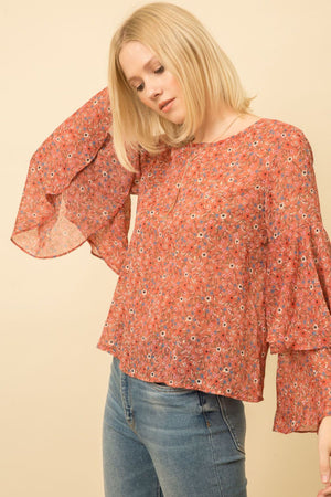 Layered Sleeve Top Rose
