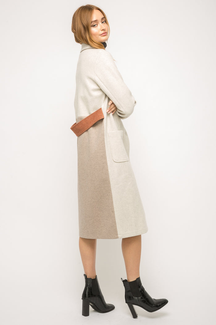 Color Block Long Coat