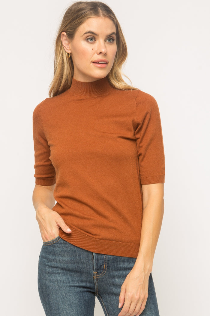 Short Sleeve Mock Neck Pullover Sweater