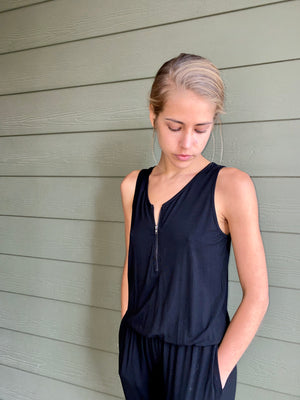Front Zip Jumpsuit with Pockets