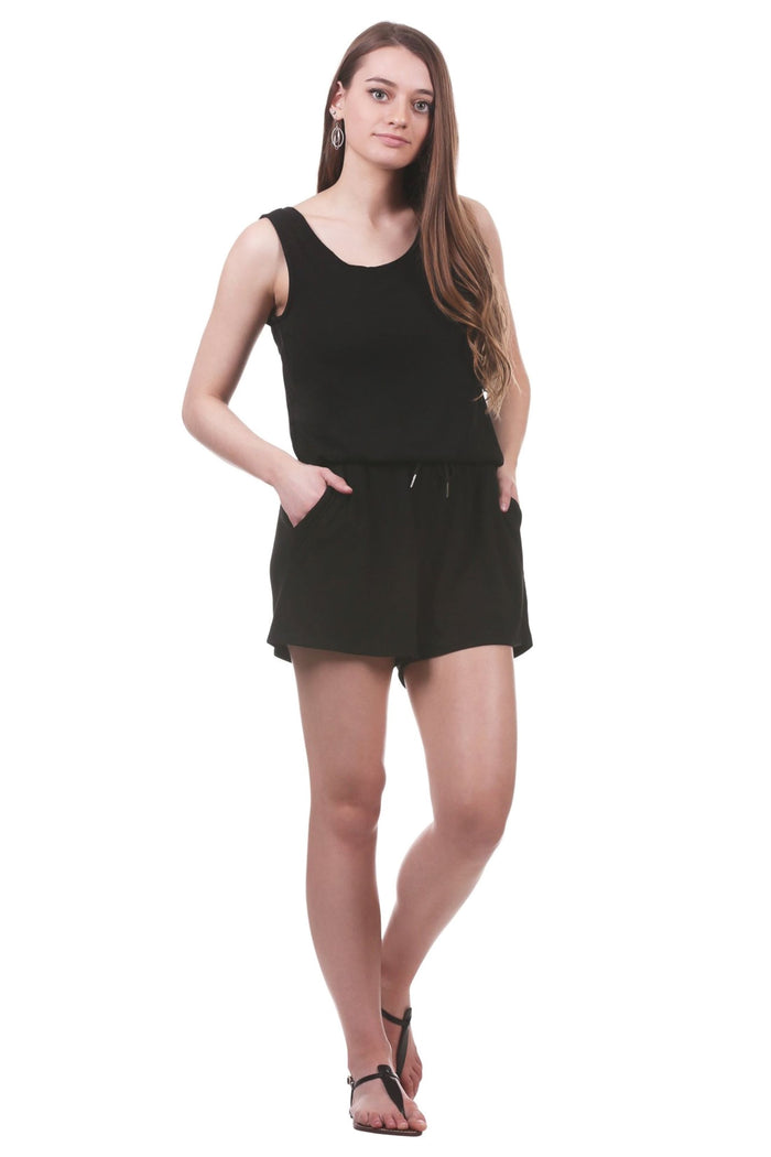 Drawstring Waist Romper with Trimmed Pockets