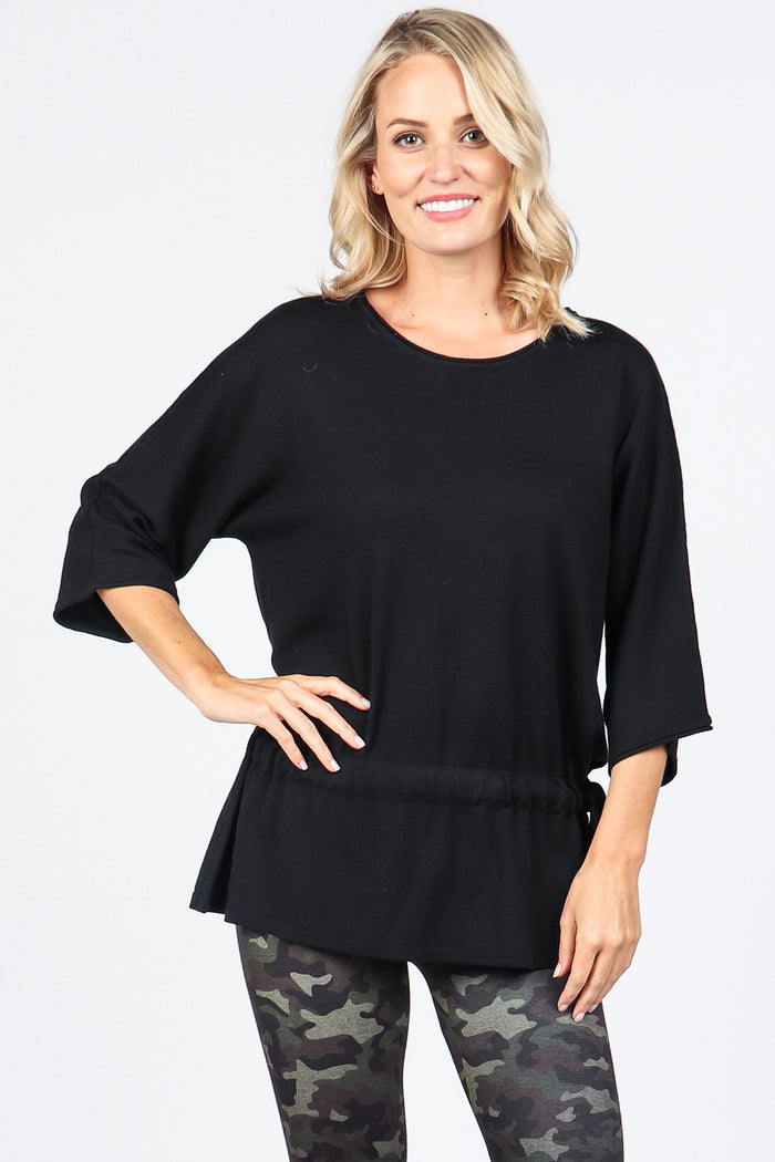 Cinch Waist Black Tunic Sweater