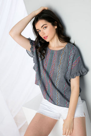 Embroidered Drop Shoulder Top