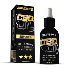 Stacker 2 CBD Iso - CBD Olie met 10% CBD - Isolaat - 30ml - 3000mg CBD - product en doosje
