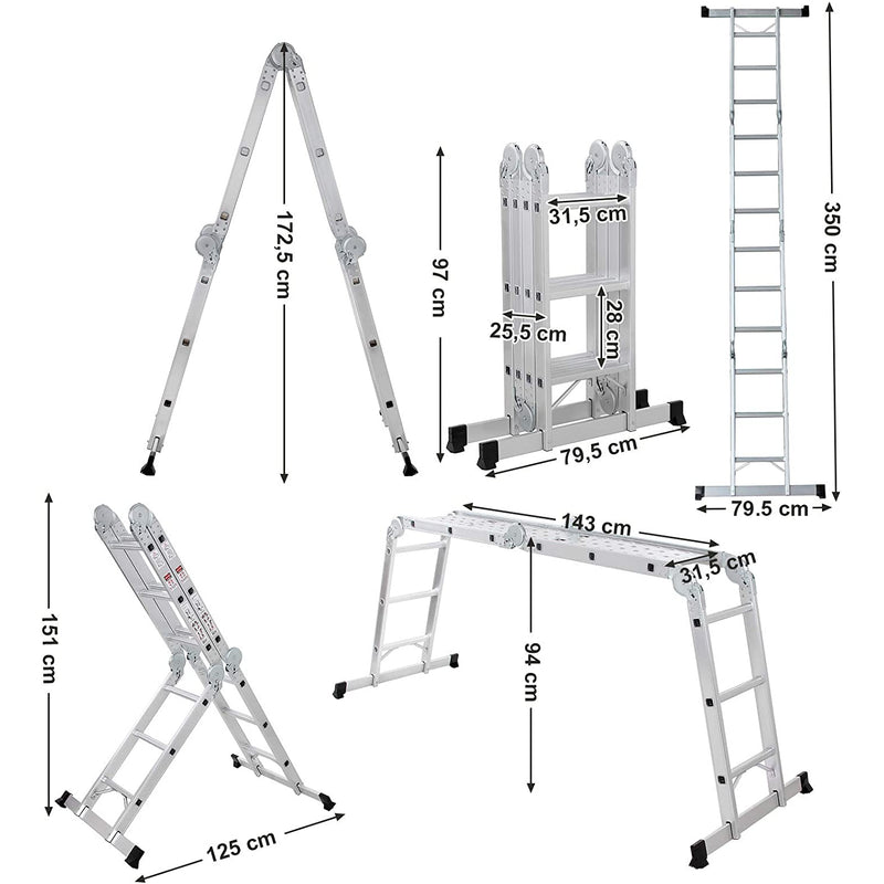 Nancy's Multifunctionele Ladder - Tot 150 Kg Ladder - Telescopische Ladder