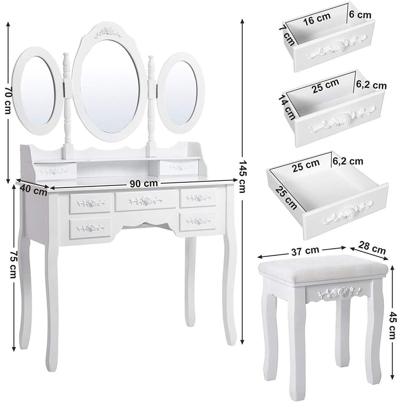 Nancy's Crenshaw Luxe Kaptafel Set – Make-up Tafel Met 3 Spiegels & Kruk – Make-up Organizer - Wit