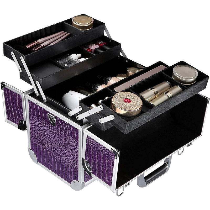 Nancy's Make-up Koffer - Uitklapbare Make Up Case Met 5 Opbergbakken - Make Up Koffer met Slot