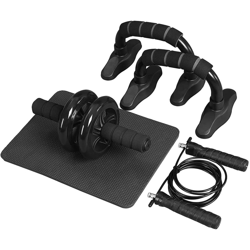 Nancy's 3-in-1 Trainingspakket - Fitnessapparaten Voor Thuisgebruik - Buikspiertrainer - Roller - Push-up Grips - Springtouw En Kniemat - Zwart