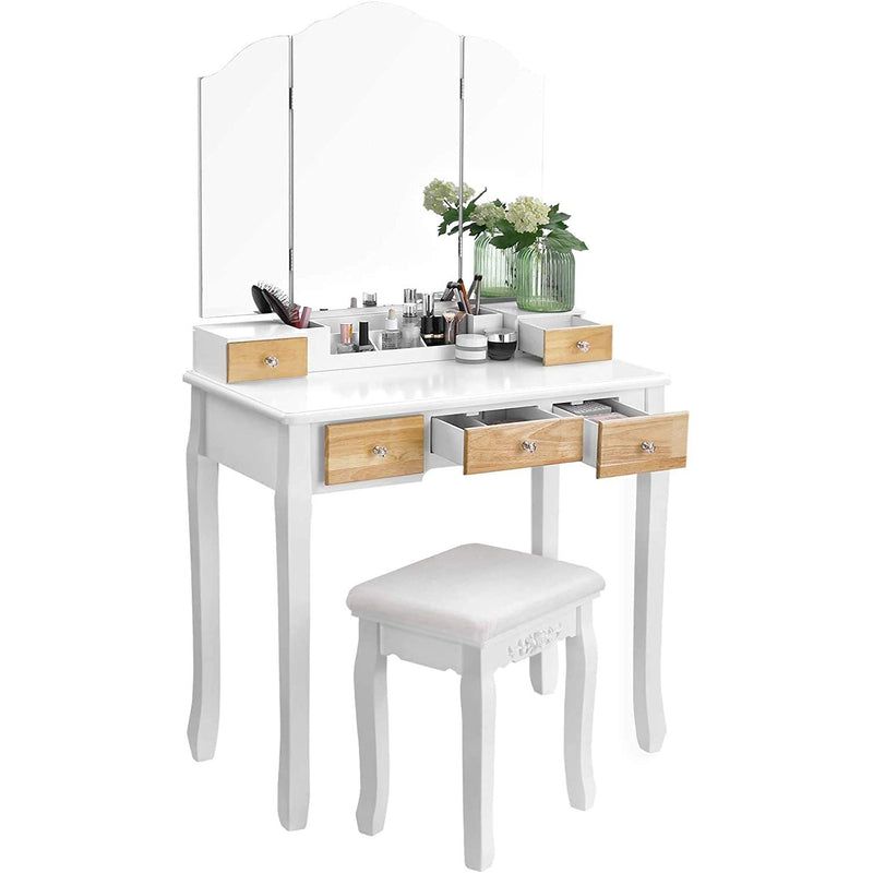 Nancy's West Adams 2 Kaptafel - Make-up Tafel - Luxe Kaptafels - Grote Spiegel - 5 Lades - 80 x 40 x 135 cm (l x b x h)