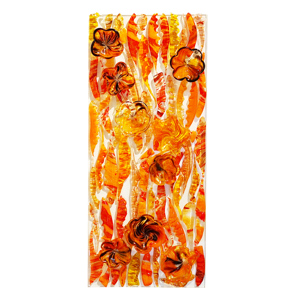 Feather Wall Art Panel Orange Medium