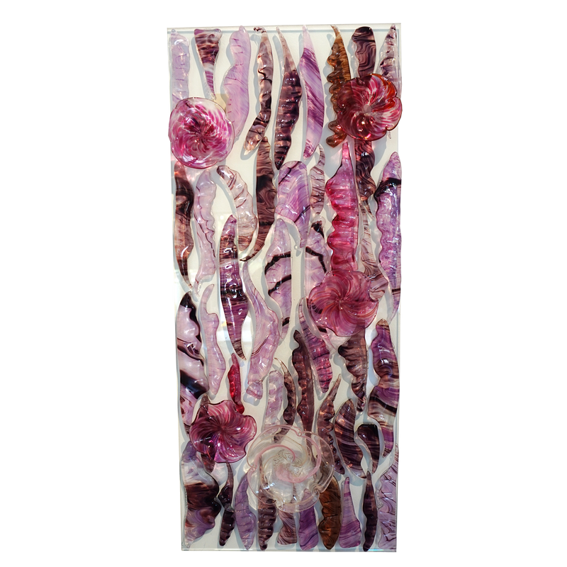 Feather Wall Art Panel Pink Medium
