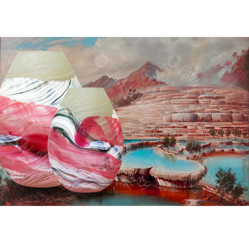 Pink and White Terraces Teardrop Medium