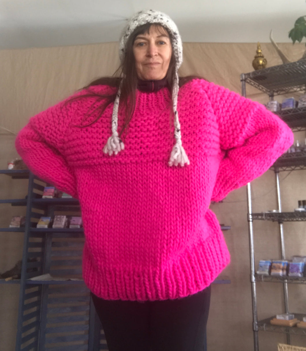 Hot Pink Over Sized Wool Sweater