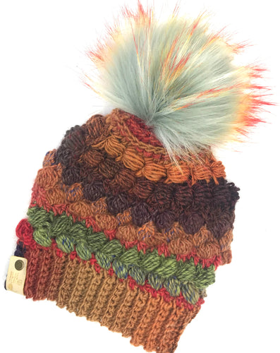 Bobbles and Puffs Crochet Wool Beanie
