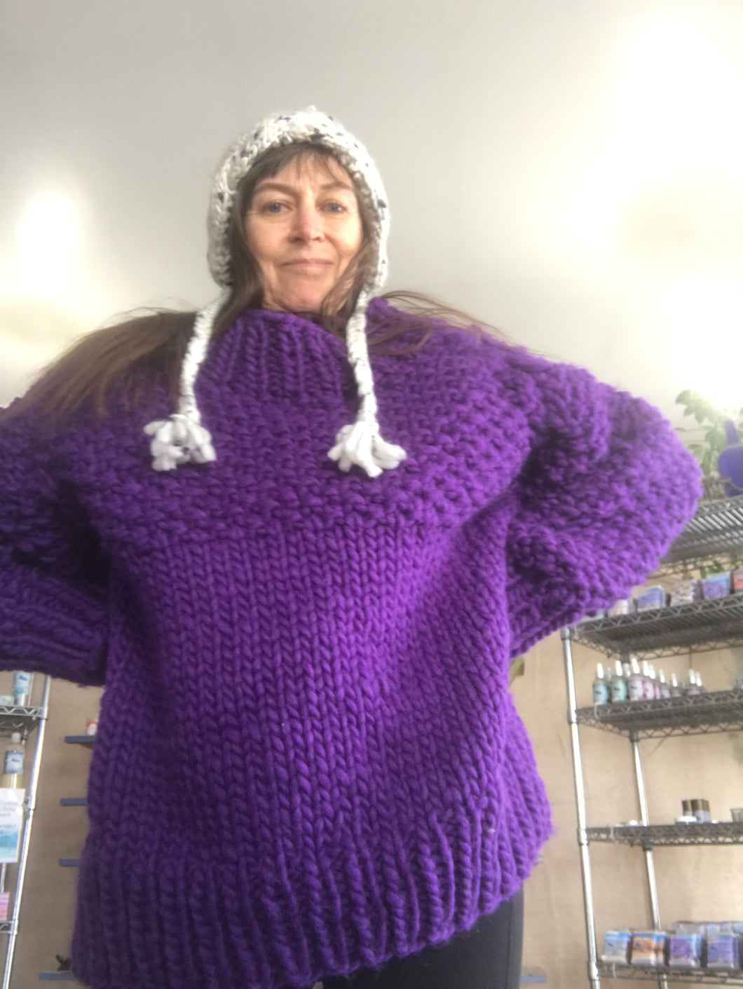Purple Over Sized Wool Sweater