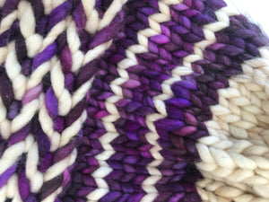 Smaller Purple Banded Braids Merino Beanie