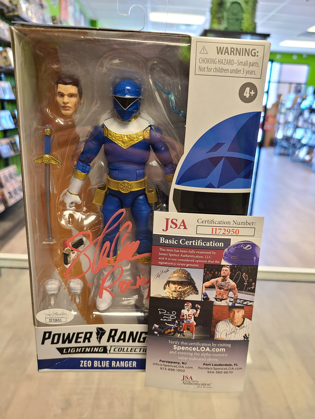 Hasbro Power Rangers Lighting Collection Zeo Blue Ranger Signed by Steve Cardenas