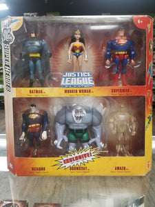 "MATTEL Justice League Unlimited Pack of Six DC Superheroes (4"" Scale): Batman, Bizarro, Doomsday, Wonder Woman, Amazo, and Superman"