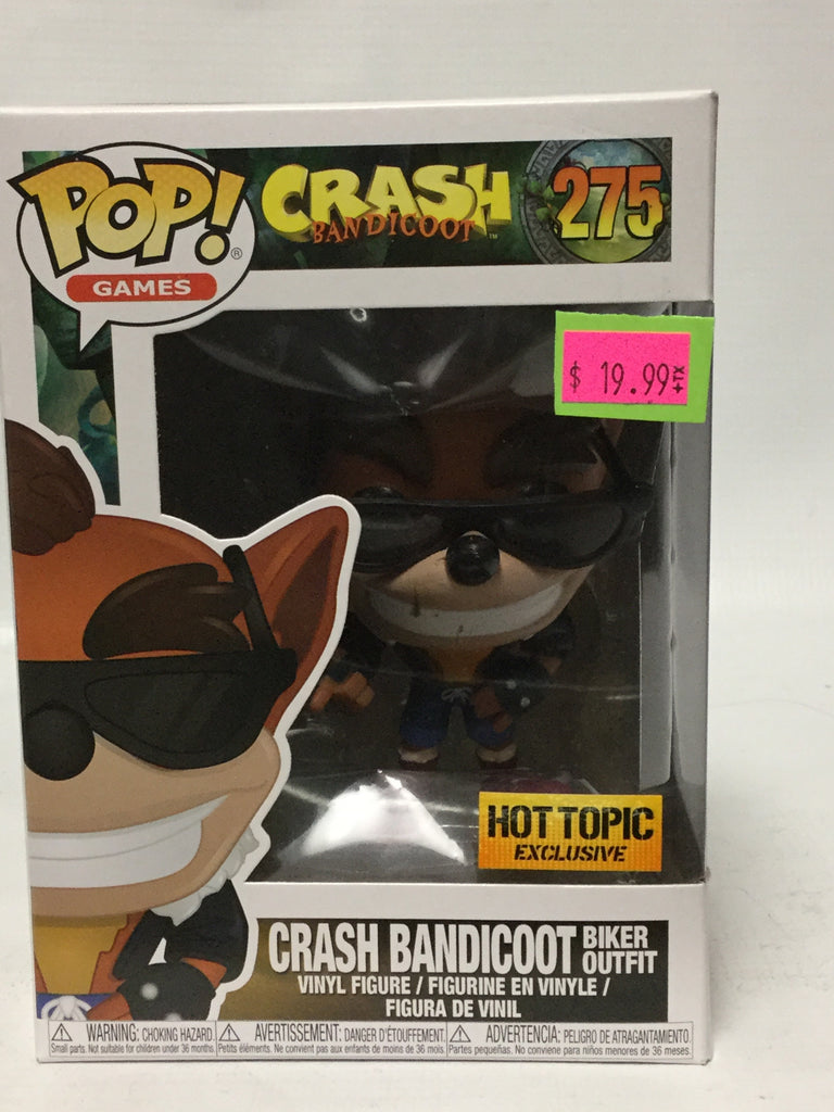 Funko Pop Games! Crash Bandicoot 275 Crash Bandicoot Biker Outfit Hot Topic Exclusive
