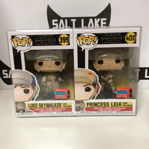 Funko Pop! Star Wars #399-400: Luke Skywalker (Jedi Training) & Princess Leia (Jedi Training) (2 pack set) (2020 Fall Convention Share Exclusive)