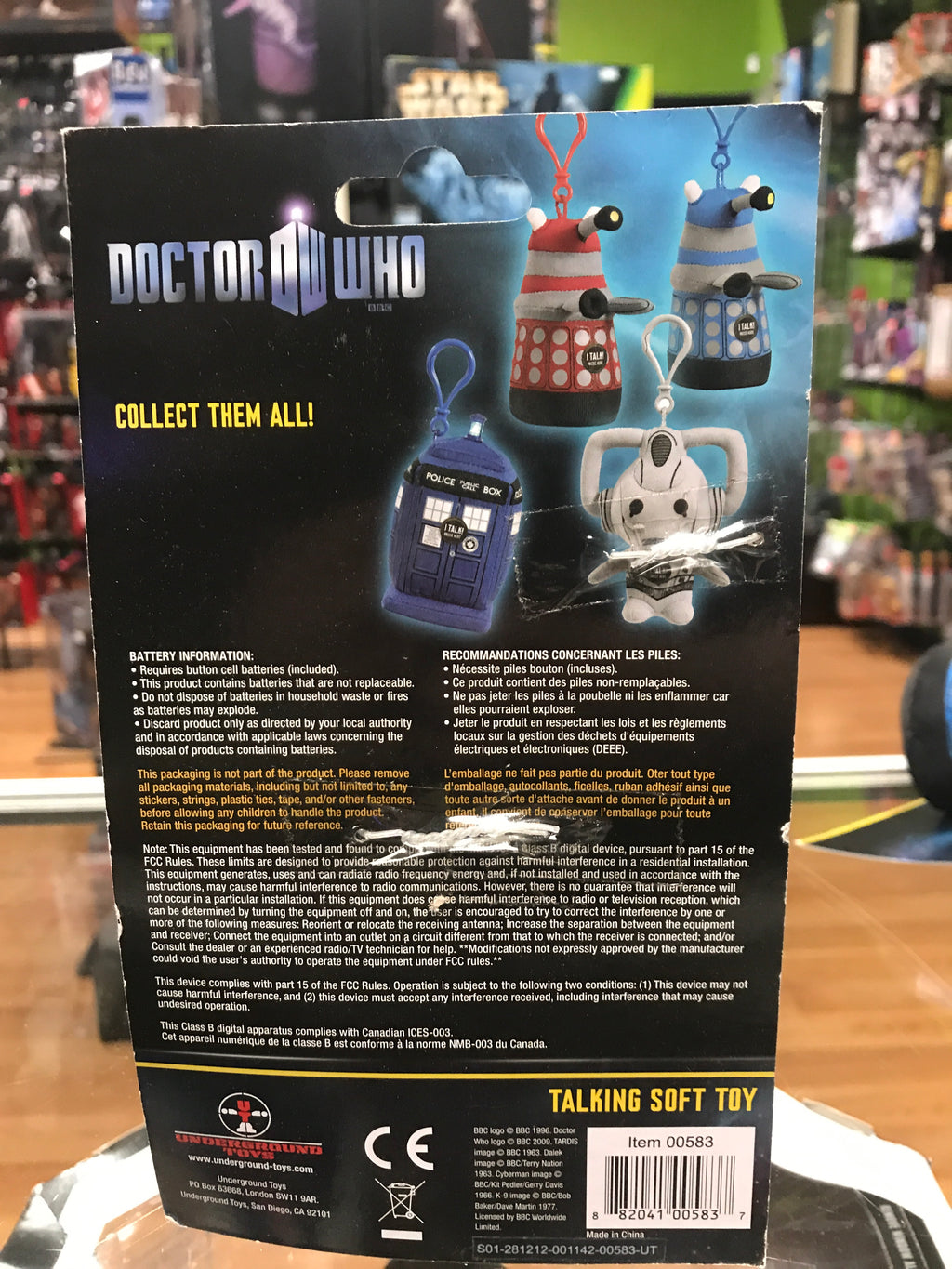 Underground Toys Doctor Who Talking Plush Clip-On Dalek