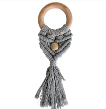 Load image into Gallery viewer, Celeste Macrame Teether + Bead -Grey