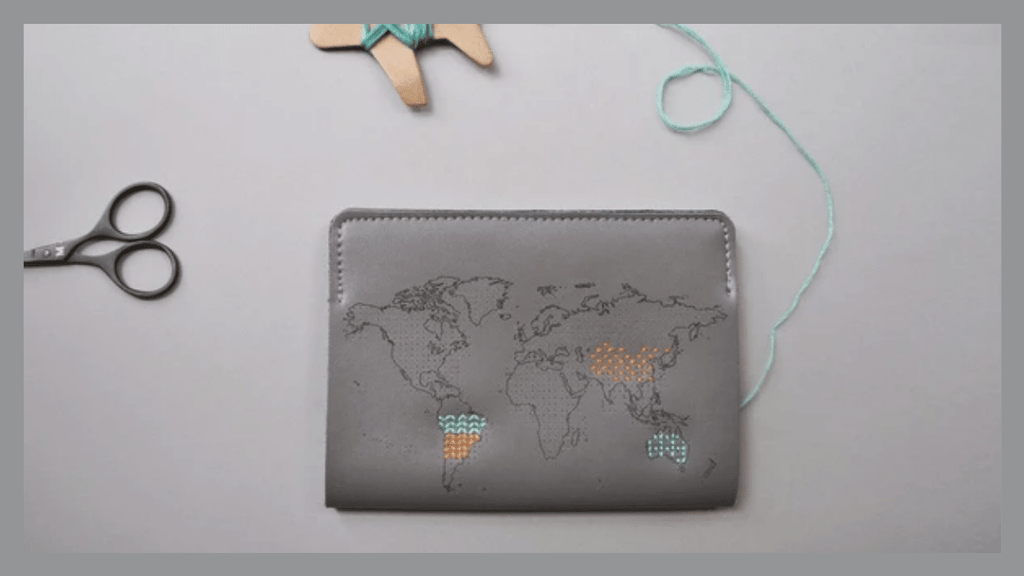 Pantone Colors of the Year for 2021 Ultimate Gray and Illuminating Stitch Passport Cover by Chasing Threads