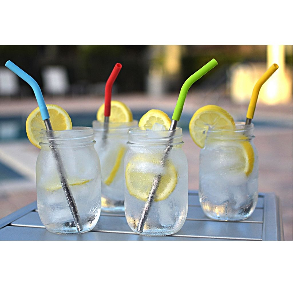 Stainless Steel & Silicone Top Drinking Straws by Krumbs Kitchen