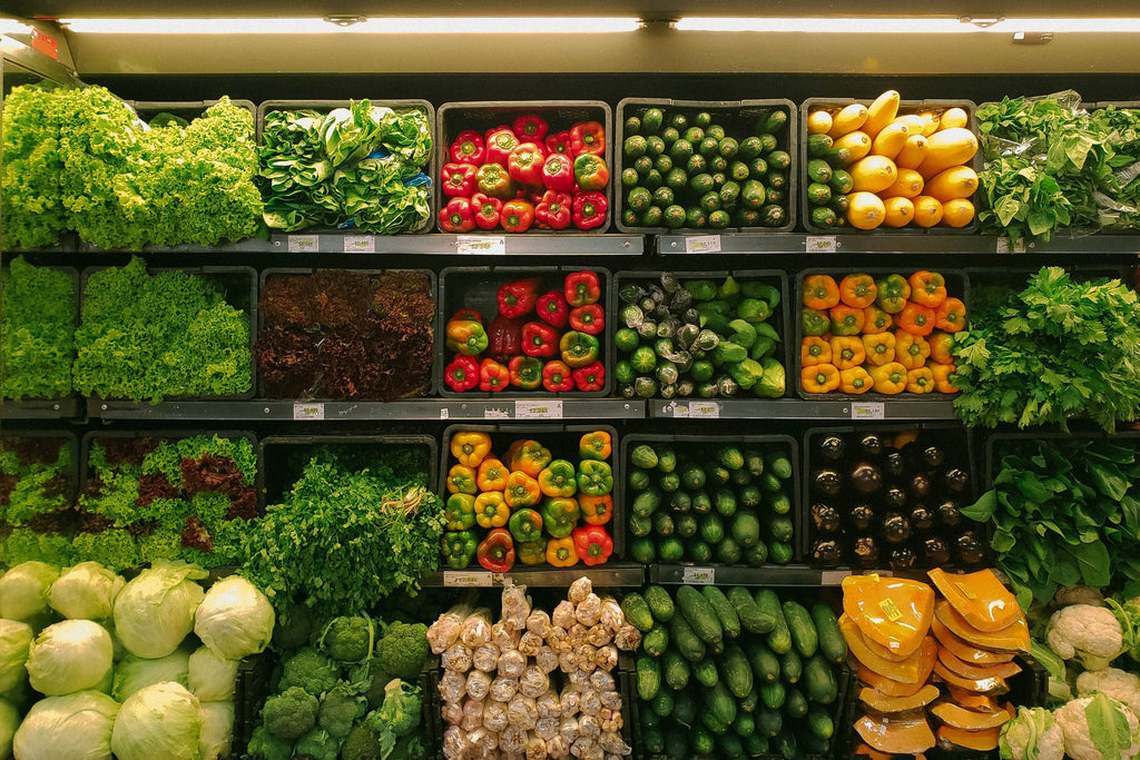 Shop healthy buy fruits and vegetables in supermarket