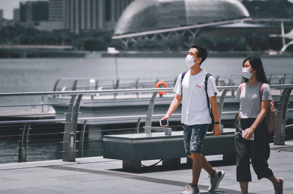 Tourists wearing surgical face masks during COVID 19 pandemic in Singapore