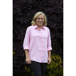 Ladies Linen Shirt - Strawberry Pink