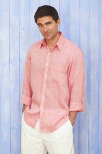 Men's Linen Shirt- Raspberry