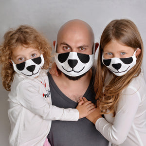 Open image in slideshow, Set of 3 Panda Face Masks with Filter Pockets