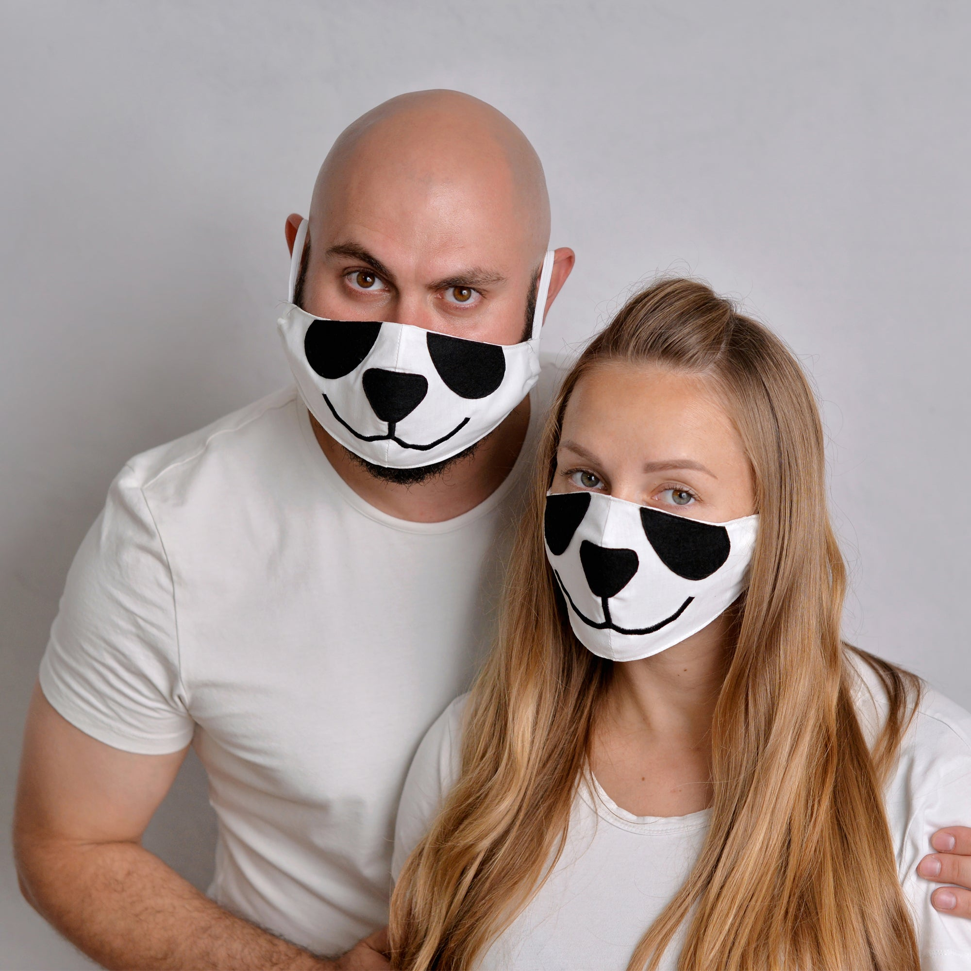 2 Panda Face Masks with filter pockets