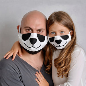 Open image in slideshow, 2 Panda Face Masks for parent and kid, with filter pockets