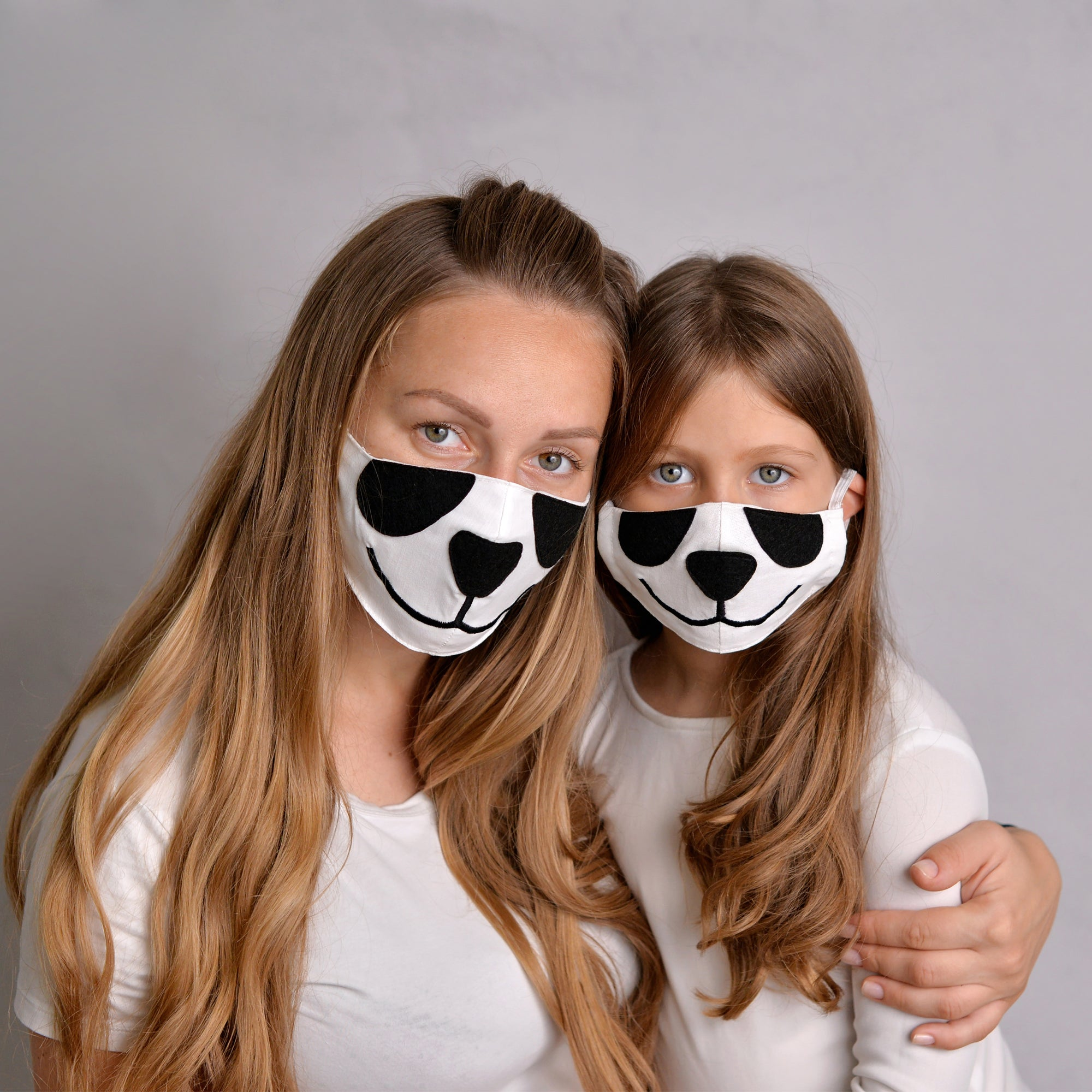 2 Panda Face Masks for parent and kid, with filter pockets