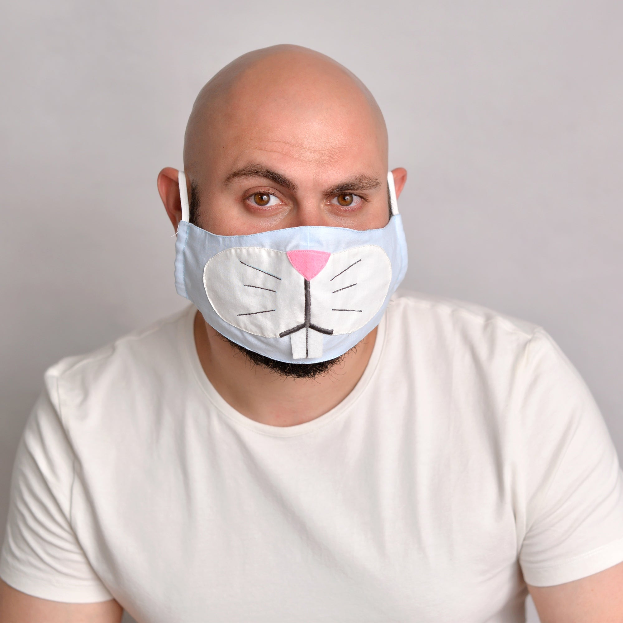Blue Bunny Face Mask with filter pockets