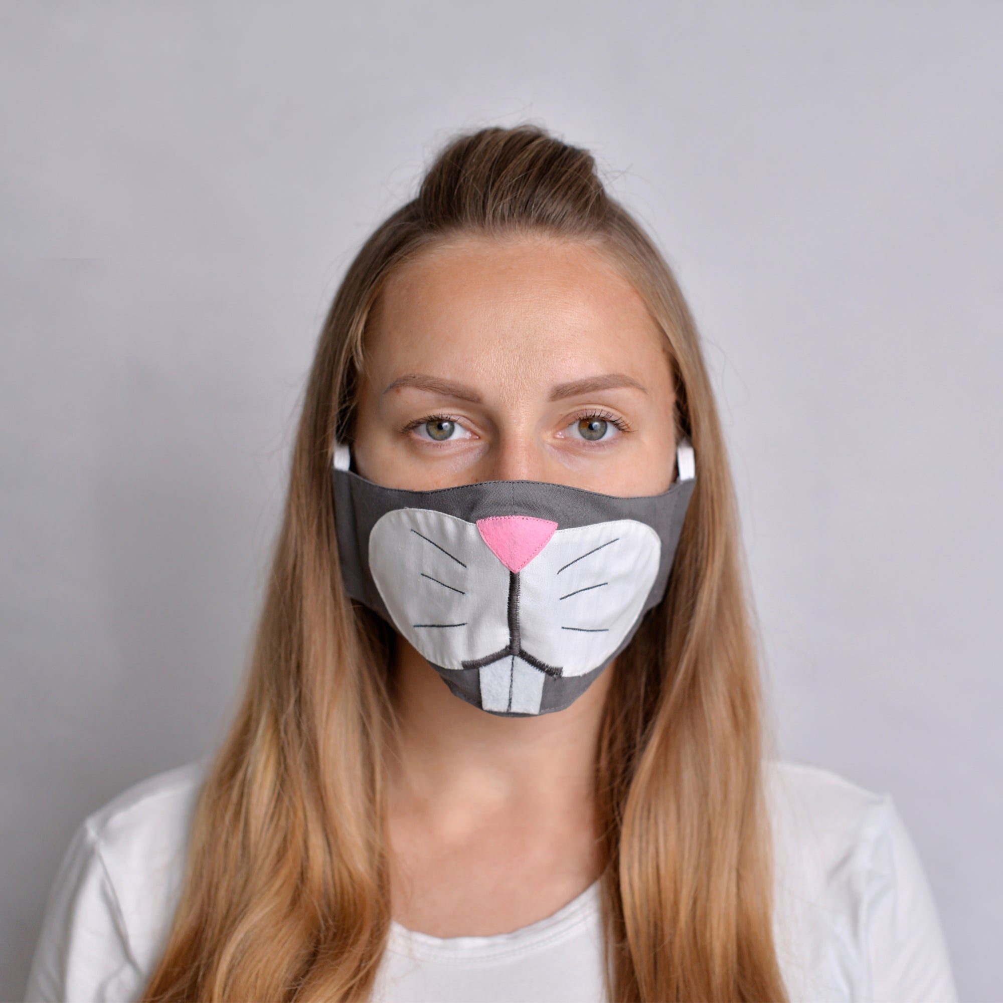 Grey Bunny Face Mask with filter pockets