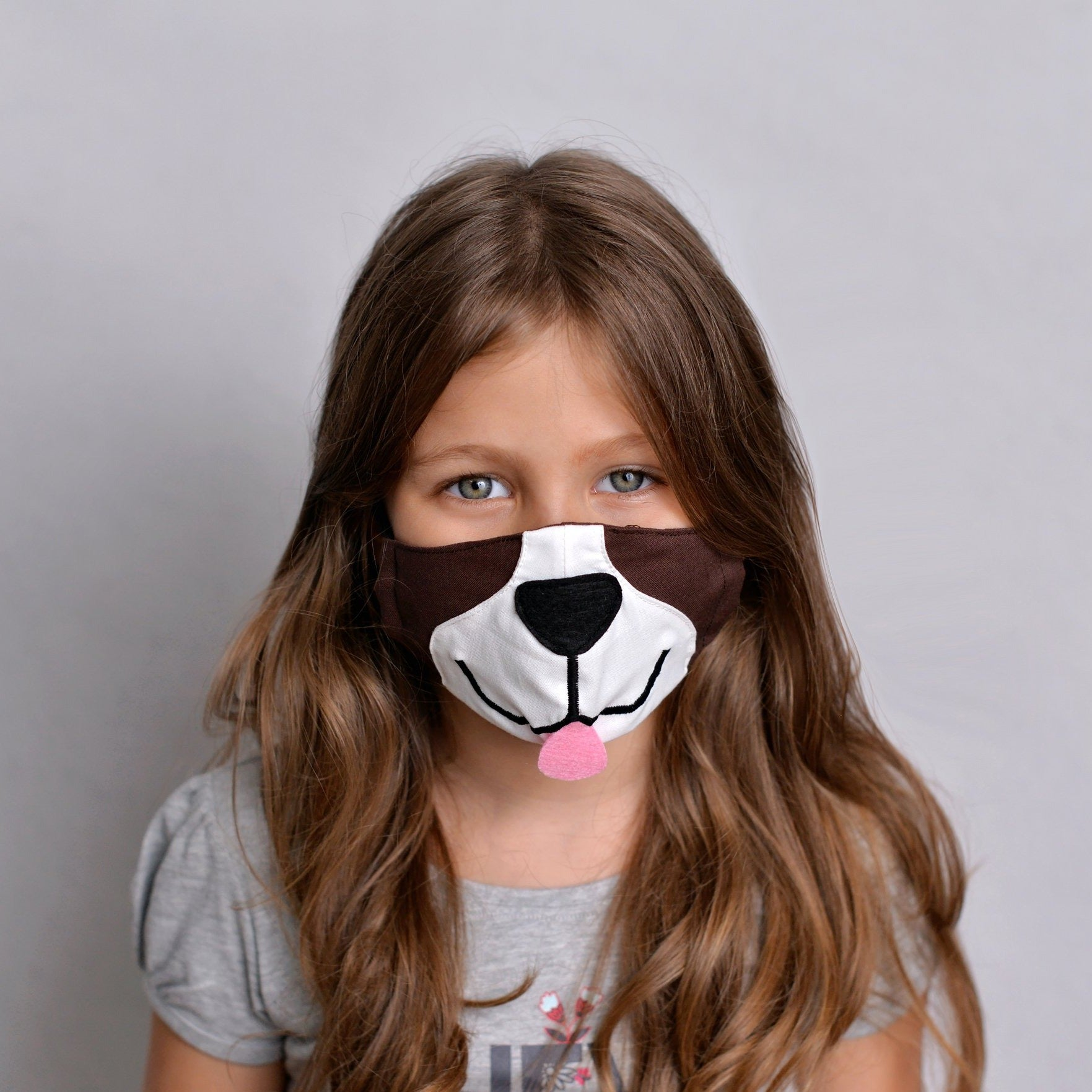 Kids Puppy Face Mask with Filter pockets