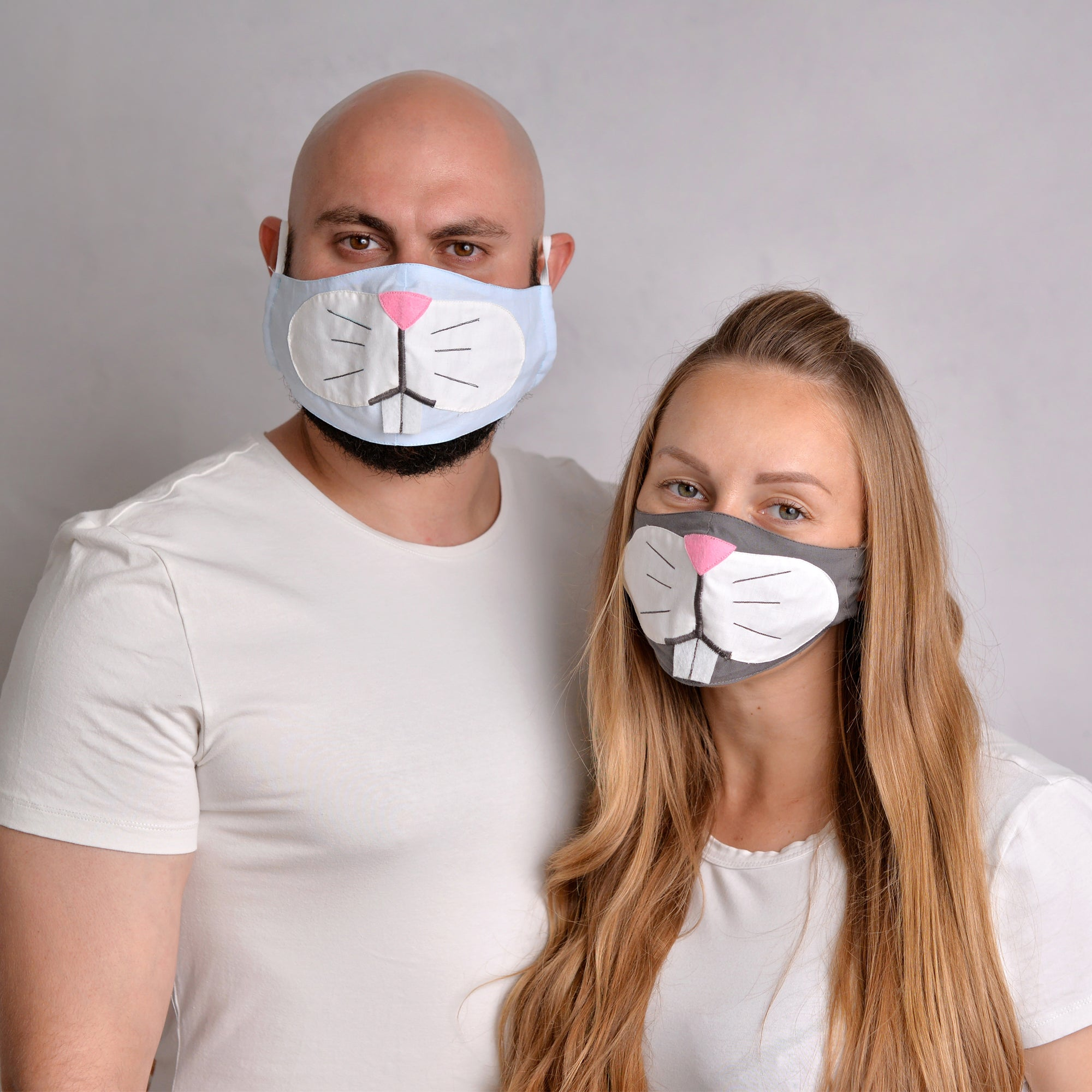 Bunny Face Masks for Couple with filter pockets