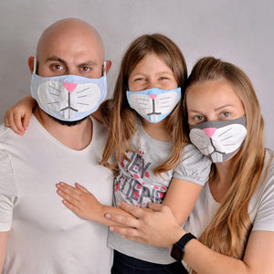 Open image in slideshow, Bunny Face Masks for the Whole Family- Set of 3