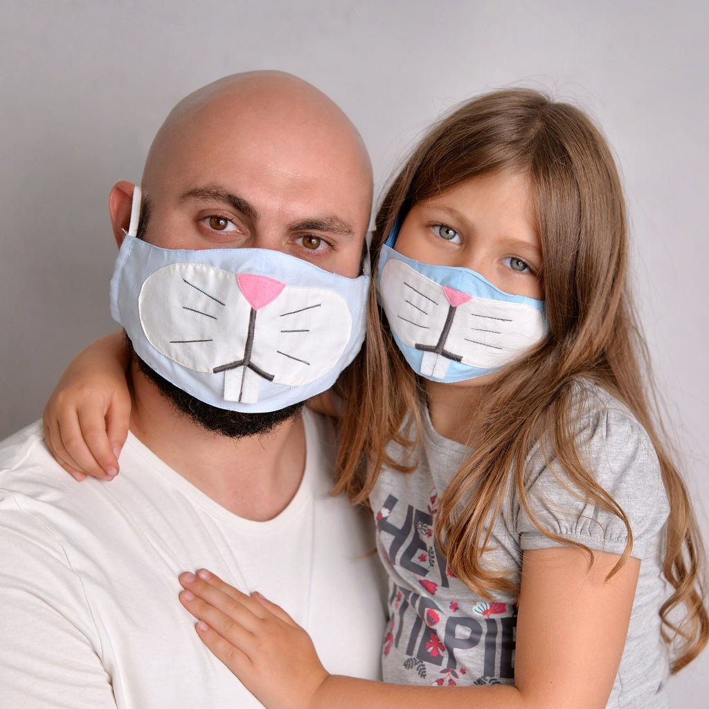 Bunny Face Mask for you and your kid with filter pockets
