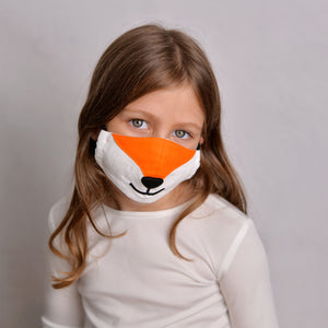 Open image in slideshow, Kids Fox Face Mask with filter pockets