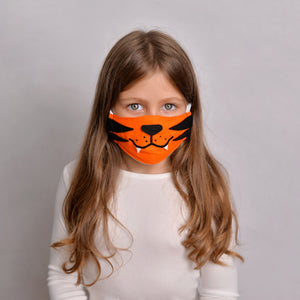 Open image in slideshow, Tiger Kids Face Mask with filter pockets