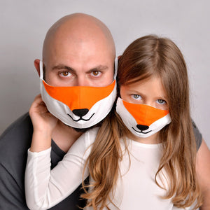Open image in slideshow, Set of 2 Fox masks for adult and kid