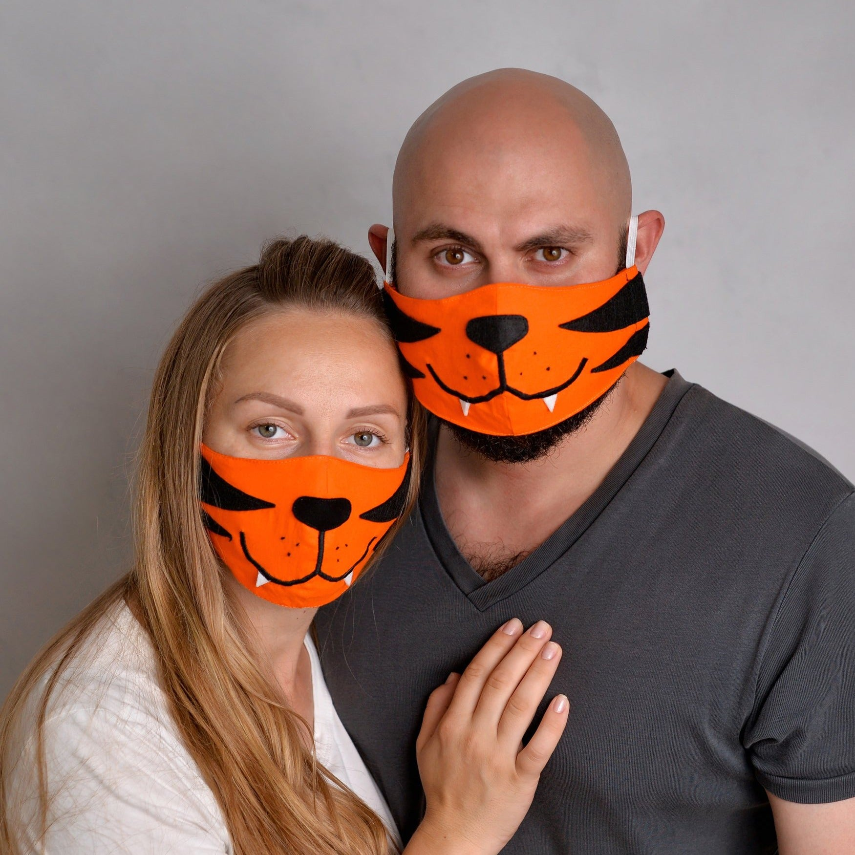 Set of 2 Tiger Face Masks for a Couple, with Filter Pockets