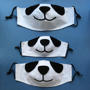 Set of 3 Panda Face Masks with Filter Pockets