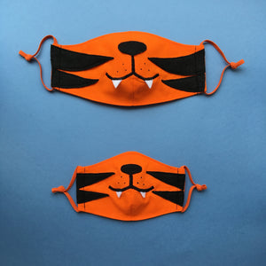 Set of 2 Tiger Face Masks for parent and kid, with Filter Pockets