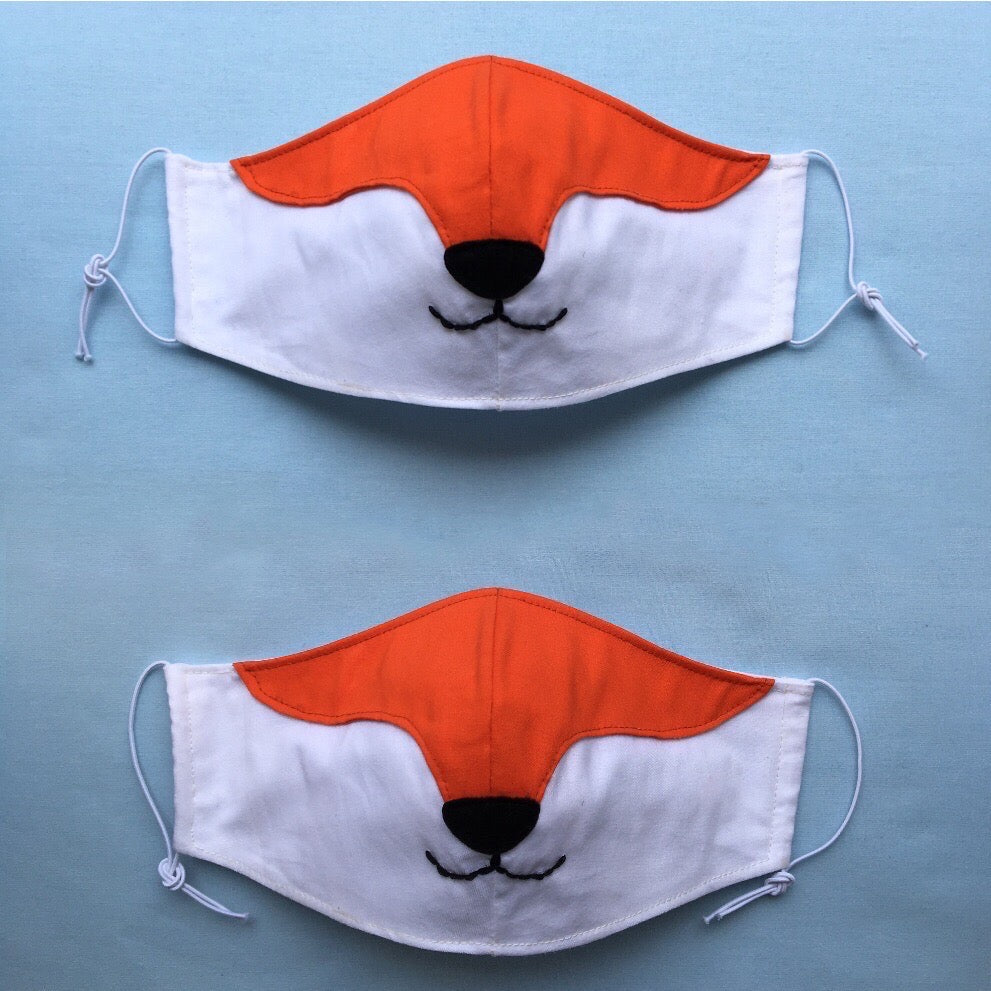 Set of 2 Fox masks for a couple with filter pockets