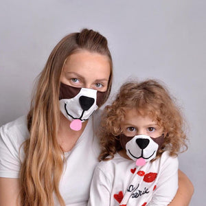 Open image in slideshow, Puppy Face Masks with Filter Pockets - Parent & Kid Set